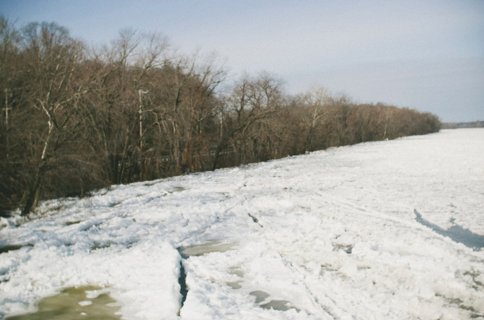 Delaware, River, Frozen, Morrisville, Pennsylvania,