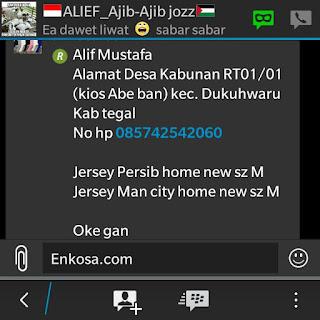 Konfirmasi pesanan dan alamat lengkap Alif Musatafa oleh enkosa sport