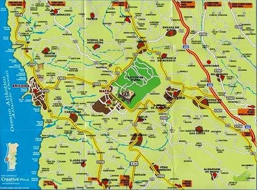 Mapa da região de Ericeira - Portugal