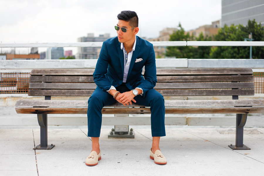 Levitate Style Teal & Tassel NYFWM | Express Tuxedo paired with J.Crew Tassel Loafers