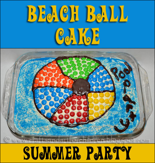 Inexpensive Idea for a Summer Pool Party: Beach Ball Cake