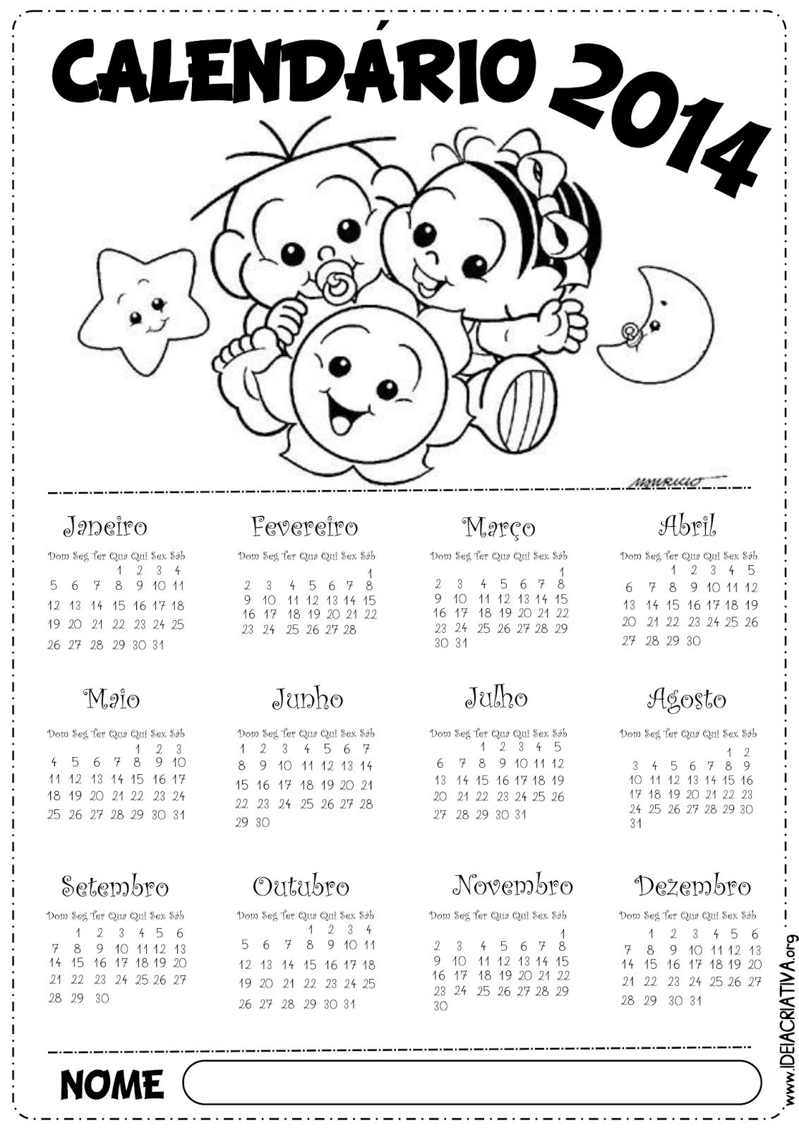 Calendário Turma da Mônica Baby 2014