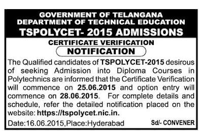 TS Polycet 2015 web counselling Notification