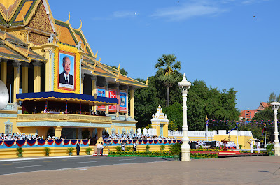 H.E. Sar Kheng addresses King Sihanouk at Royal Palace, Phnom Penh, Cambodia
