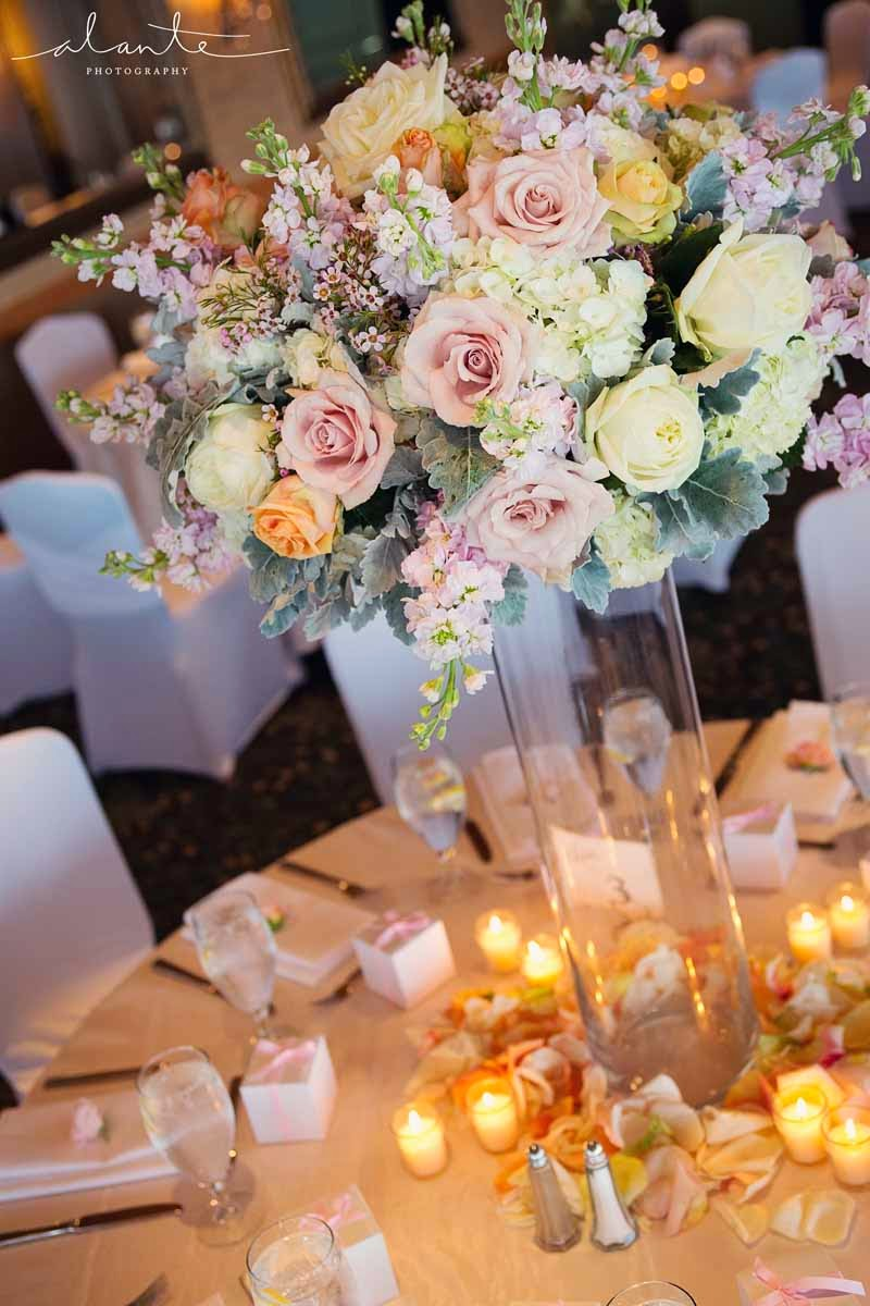 blush wedding flowers, tall centerpiece