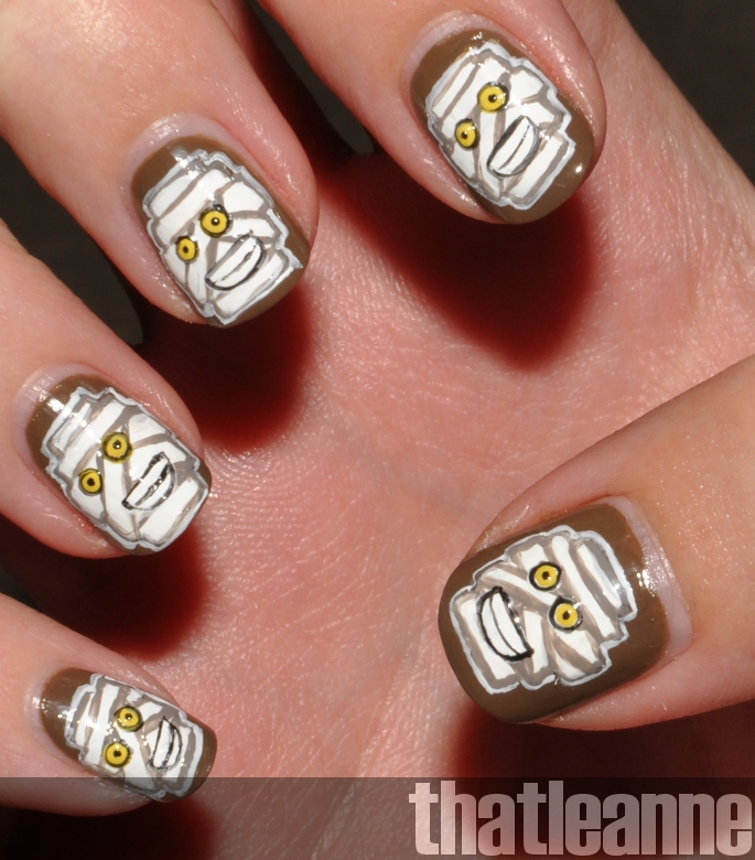 Thatleanne Chococat Nail Art: Thatleanne: Mummy Nails Tutorial For Halloween