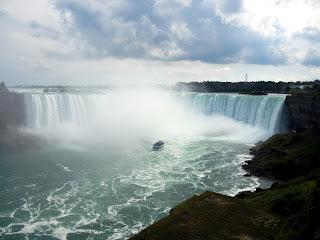 A Maid of the Mist heading under Horseshoe Falls at Niagara Falls