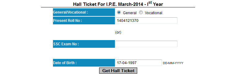 download ap inter first year hall ticket