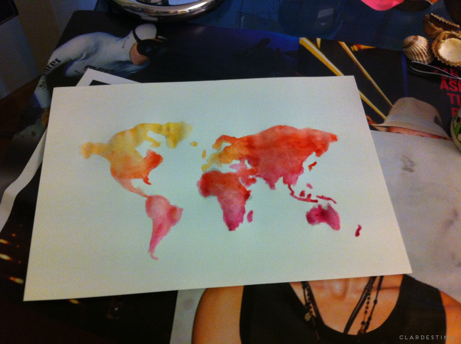 diy watercolor world map mapa mundo acuarelas