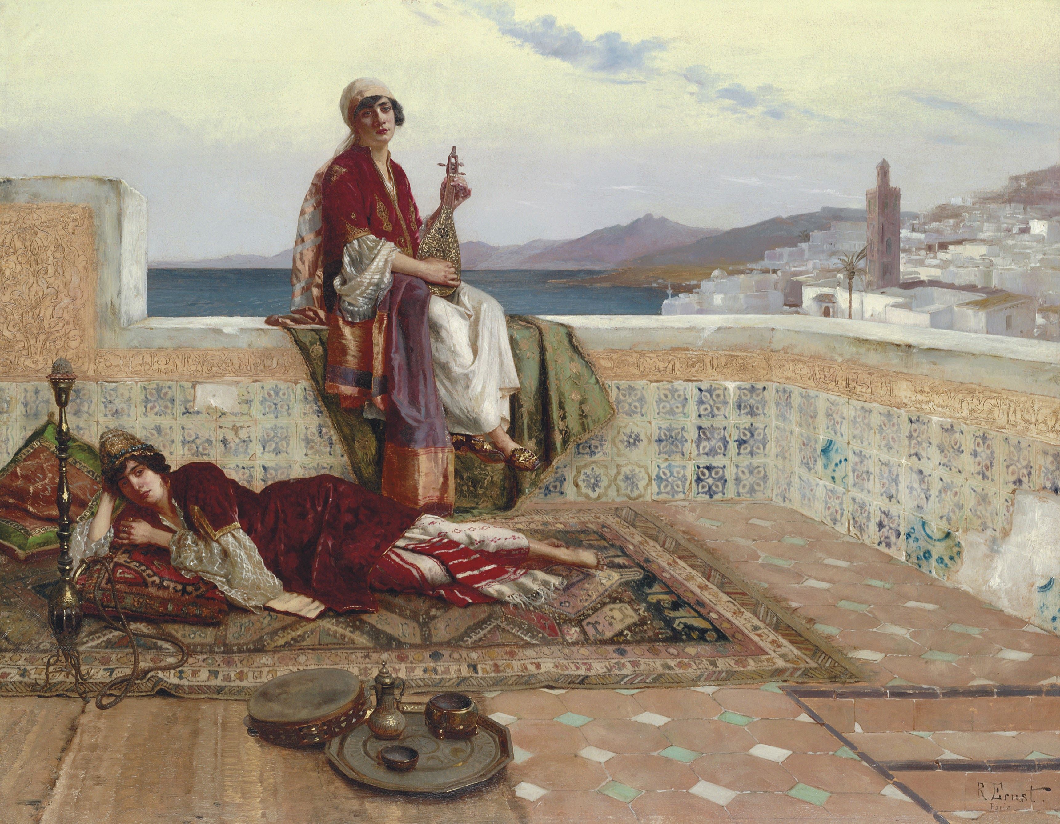 Rudolf Ernst On the terrace Tangiers