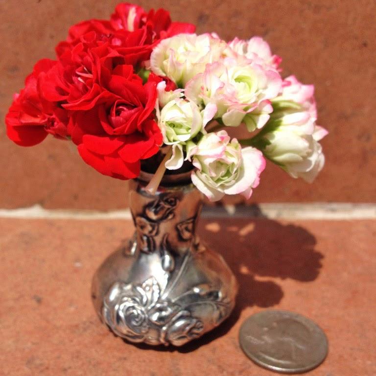 Mariettes Back To Basics Tiny Silver Vase With Rosebud Pelargonium