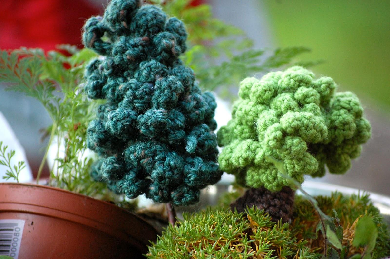 Greedy For Colour Crochet Bonsai Trees
