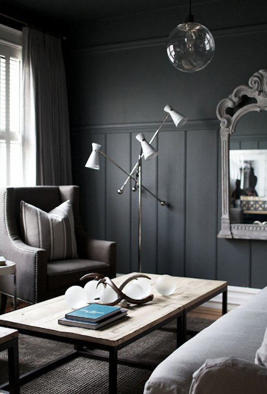 dark walls, dark interior paint color, black interior paint color, living room, interior design