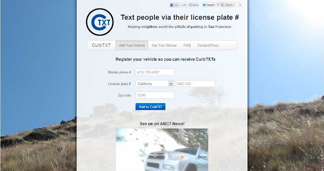 How to text anonymously to the licence number plate of a car in US (also in Switzerland)?
