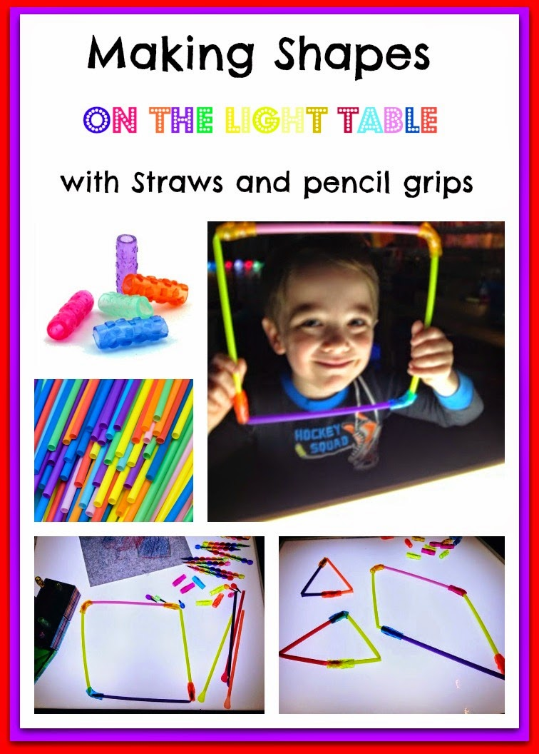 straws and pencil grips on the light table
