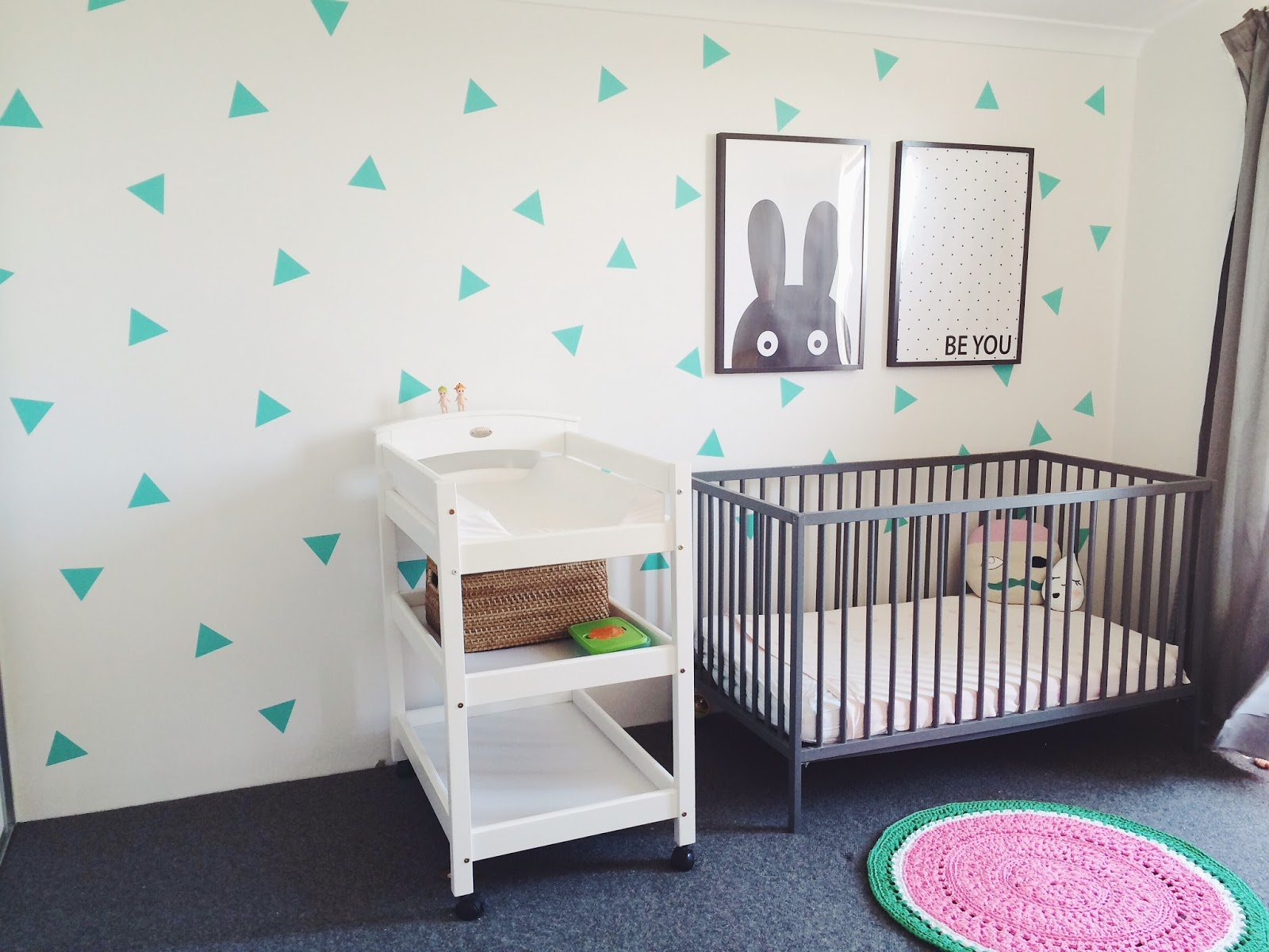 Mint triangle decals girls room