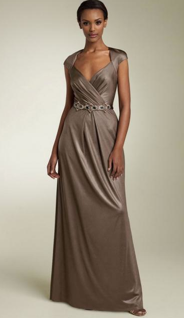 David Meister Long Belted Jersey Gown in taupe colour