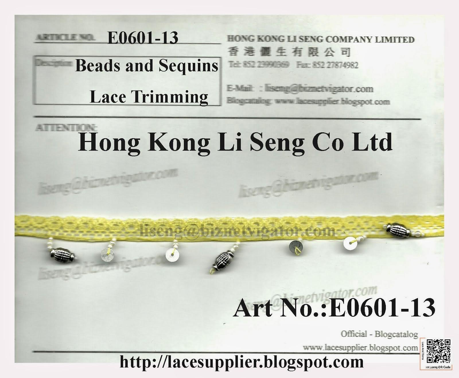 Beads and Sequins Lace Trimming Manufacturer - Hong Kong Li Seng Co Ltd
