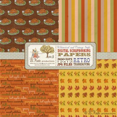 Bnute Productions Free Printable Retro Thanksgiving Digital