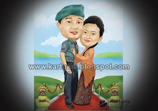 Kariktur Pernikahan Tema Militer