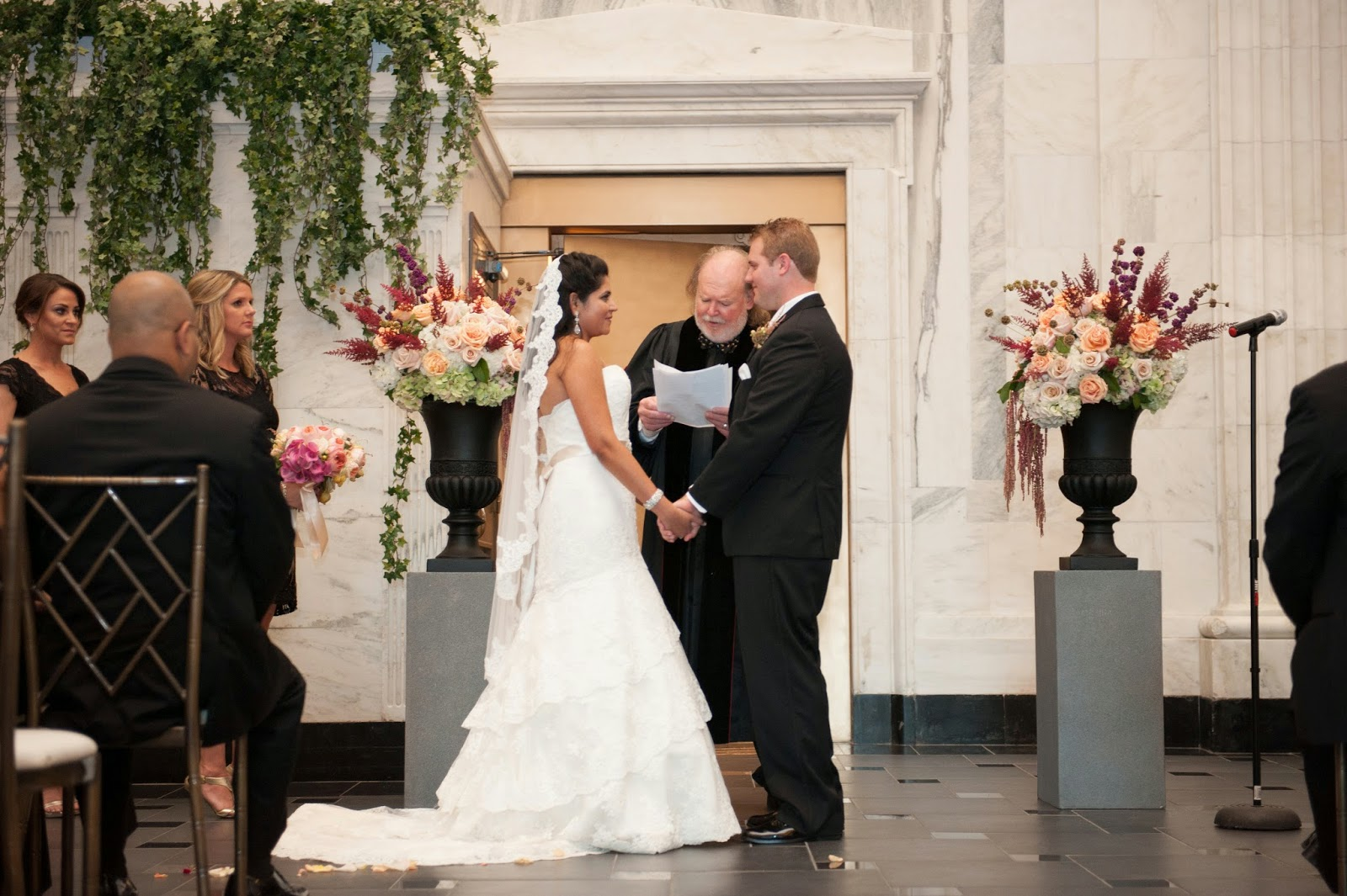 Sixty State Place Wedding - Ceremony Decor Flower Urns- Downtown Albany NY Wedding - Old Historical Bank Wedding - Historical Venue Wedding - Upstate NY - Splendid Stems Floral Designs