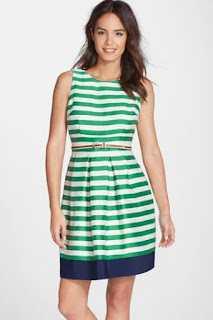 Eliza J Belted Stripe Fit & Flare Dress (Regular & Petite)