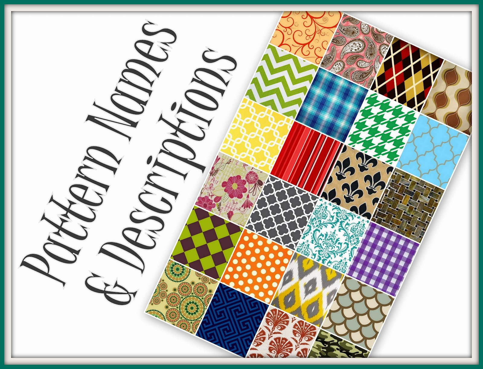 Glossary of design terminology choosing a pattern for Different design