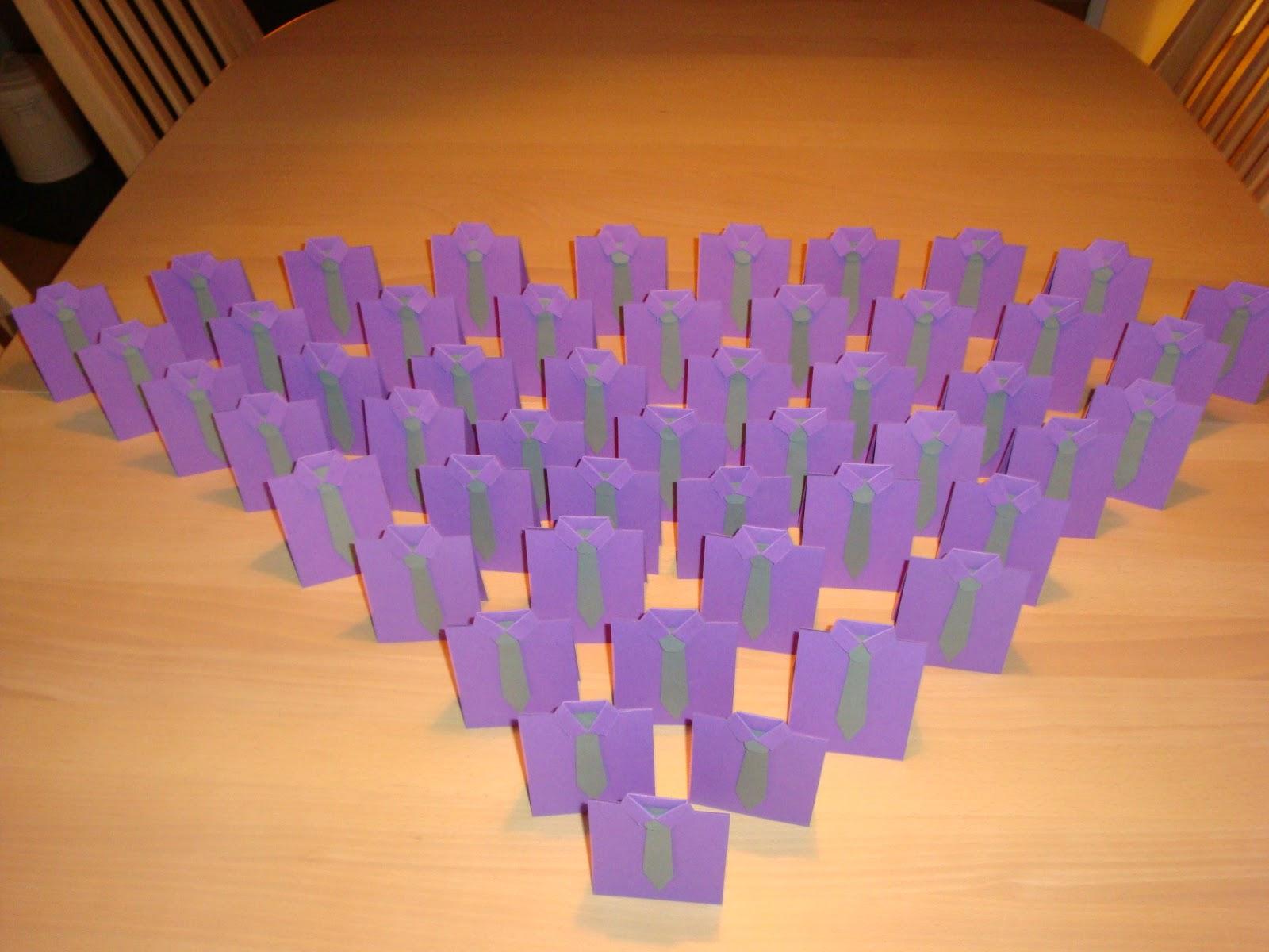 50 stk bordkort lavet som indbydelserne bare i mini str
