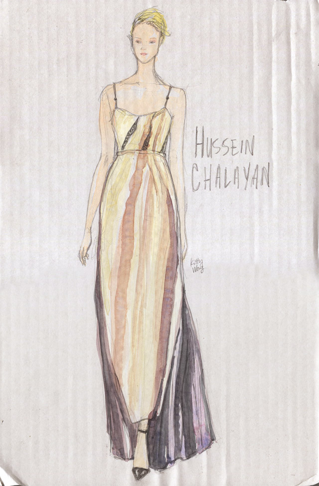 Kitty Wong illustration of Hussein Chalayan Fall 2013 dress