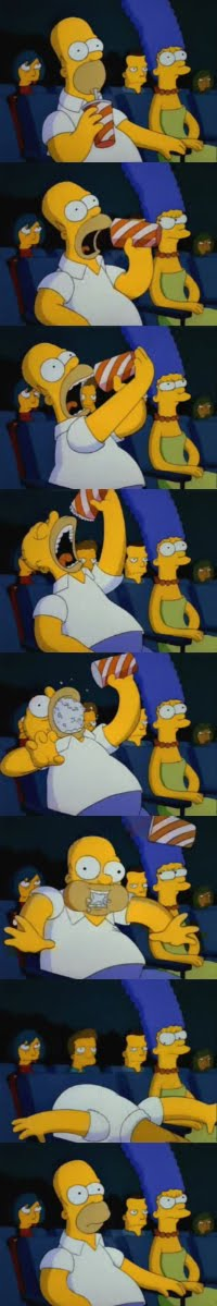 Homero en el cine en 'Colonel Homer', episodio número 20 de la tercera temporada de 'Los Simpsons'