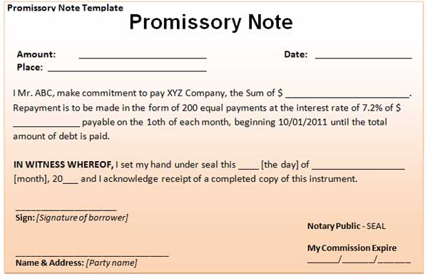 business promissory note template
