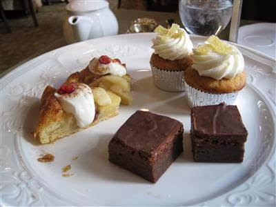 apple crostata, brownie, and pumpkin mini cupcake topped with candied ...