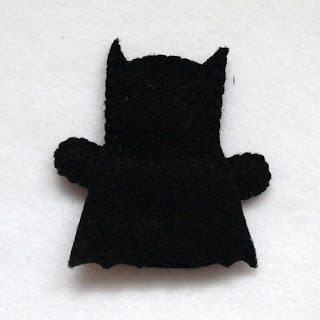 Batman felt fingerpuppet, handmade by Joanne Rich.