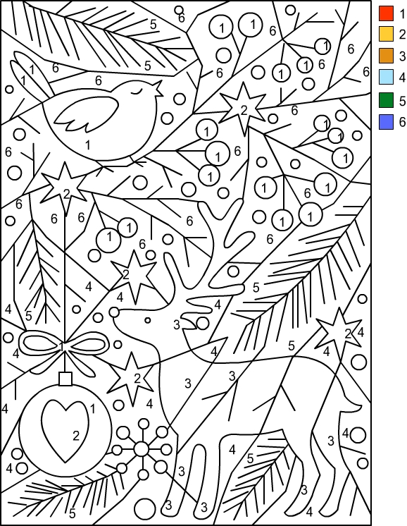 Christmas Color by Number Coloring Pages Free