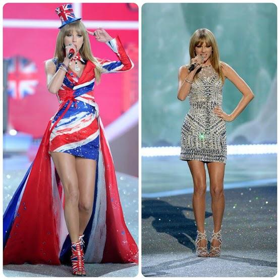 Taylor Swift - Victoria's Secret Fashion Show 2013 vestido Union Jack o bandera Reino Unido y vestido glitter