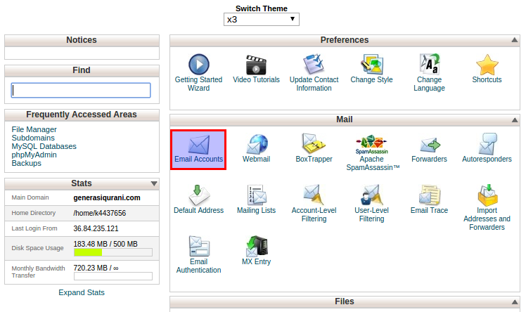 membuat email accounts di cpanel