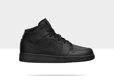 Air Jordan 1 Mid (3.5y-7y) Boys' Shoe Black/Black-Black, Style - Color # 554725-010