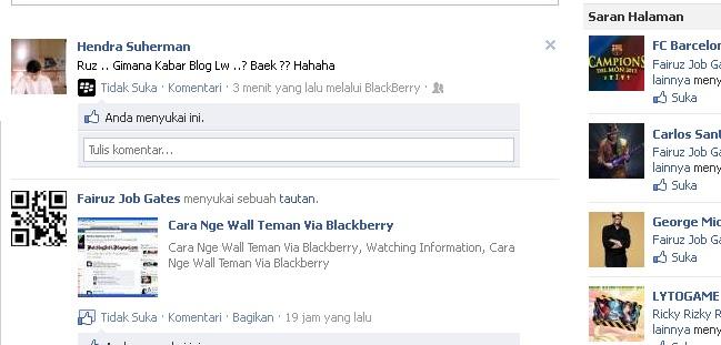 cara wall teman via blackberry