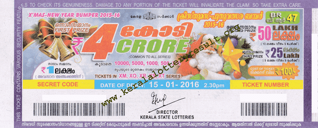 Christmas New Year Bumper 2016 BR-47 Lottery Prize Structure