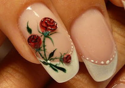 red+rose+nail+art+ideas Red Nail Designs with flowers for every day