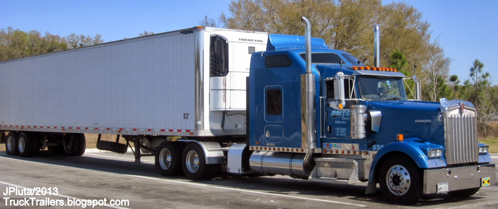 Dmtc inc des moines iowa kenworth sleeper cab truck great dane refrigerated 53 trailer dmtc trucking company ia dmtc inc des moines iowa 4071 121st
