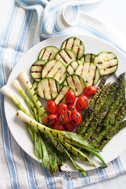 Grilled fresh veggies for pasta salad
