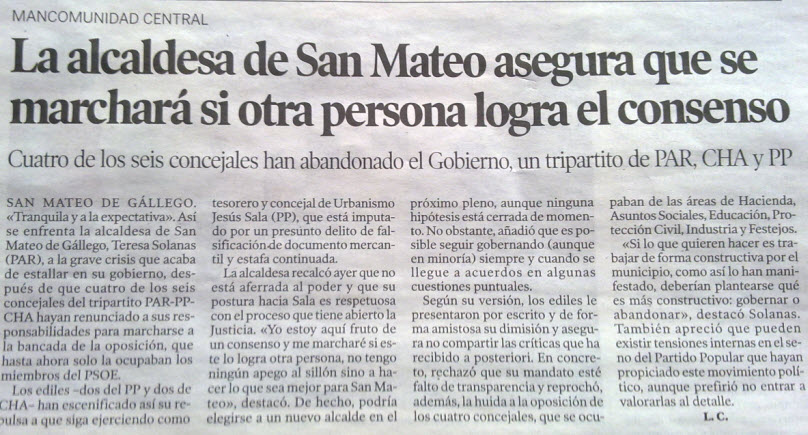 El blog de san mateo de g llego la alcaldesa de san mateo - El tiempo en san mateo de gallego ...
