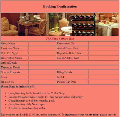 Reservation Confirmation Sample Hotels | Reservation Confirmation Resort