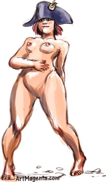 Nude model in a bicorne is a life drawing by artist and illustrator Artmagenta