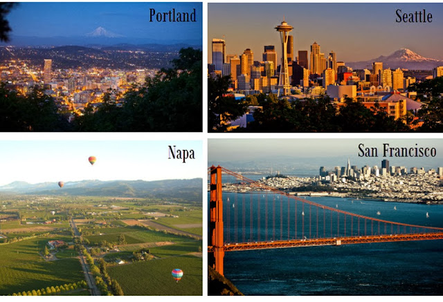 portland, seattle, san francisco, napa, california, west coast