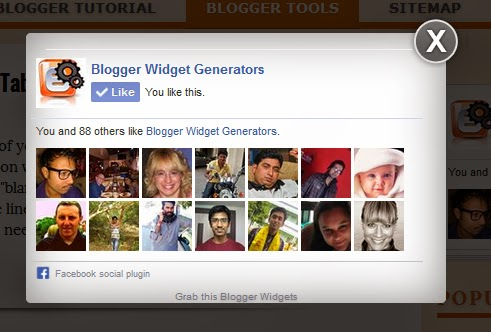 facebook popup like blogger widget