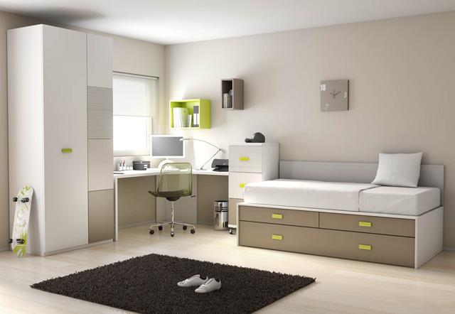 Dormitorios juveniles en colores arena for Distribucion habitacion juvenil