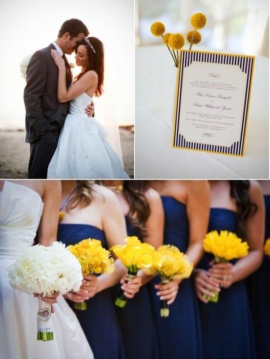 decoracao de casamento azul escuro e amarelo: