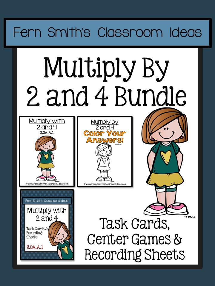 Fern Smith's Classroom Ideas Multiply with 2 and 4 Task Cards Recording Sheets & Centers Bundle 3.OA.A.1a